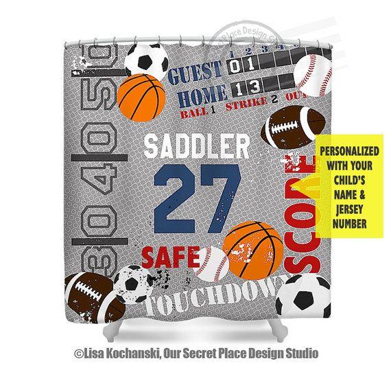 Sports Shower Curtain Boys Bathroom Decor Sports Decor For Boys