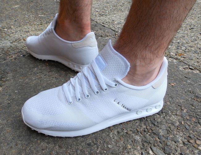 mens adidas la trainers all white