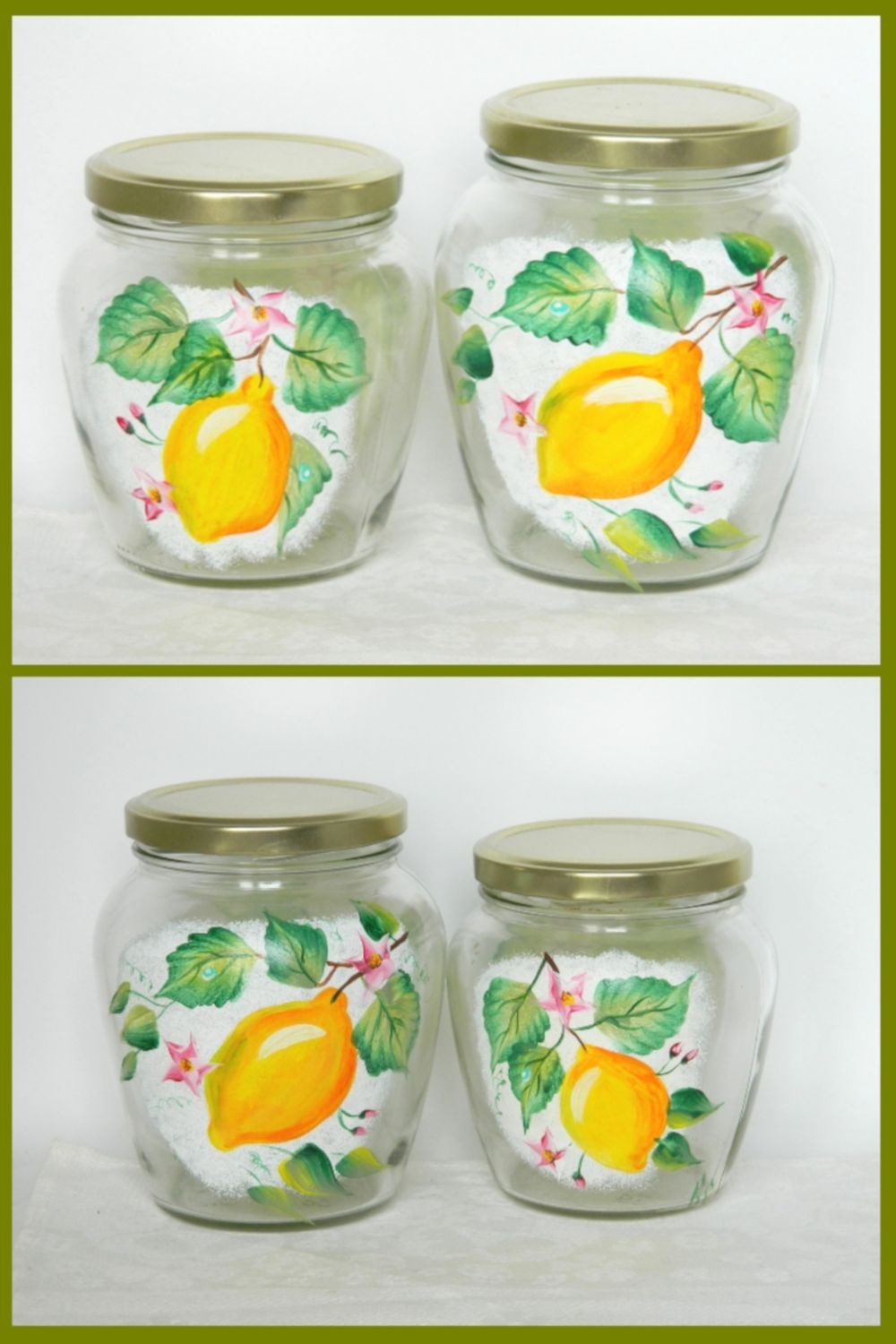 Hand Painted Glass Jars With Lid Jam Pot Kitchen Canister Set Lemon Glass Cookie Jars Colorful Glassware Food Storage Of Decorative Canister Painting Glass Jars Glass Cookie Jars Glass Jars With