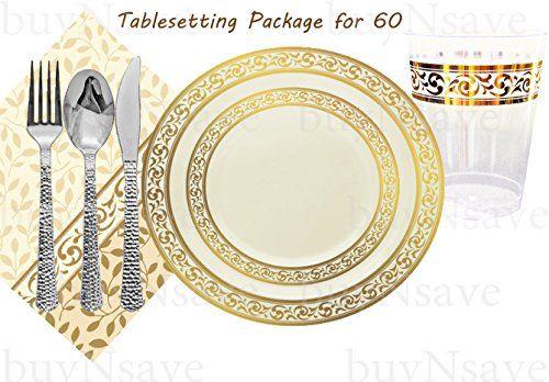 buyNsave Decor Cream with Gold Elegant Wedding Party Disposable Plates Heavyweight Plastic Elegant Dinnerware Set  sc 1 st  Pinterest & buyNsave Decor Cream with Gold Elegant Wedding Party Disposable ...