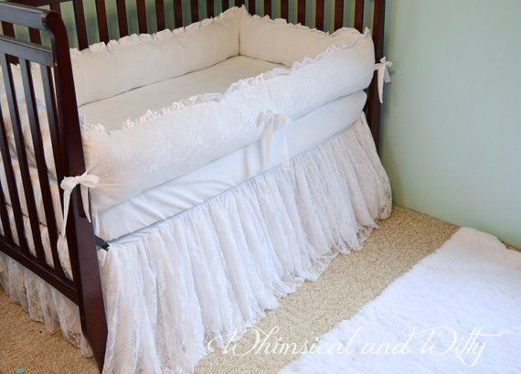White Lace Baby Crib Bedding White Cotton And Satin Ruffled Lace