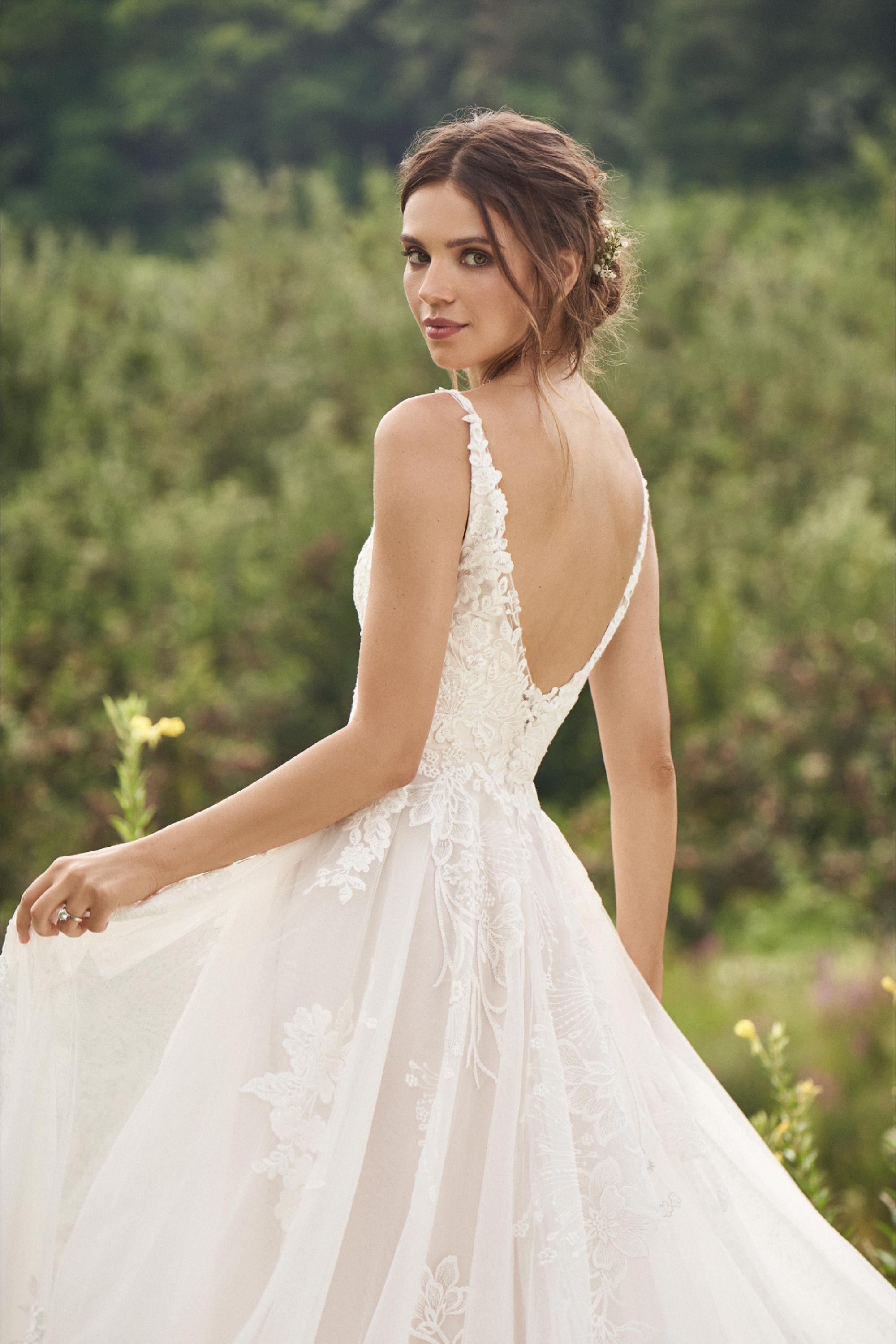 Style 66142 Natural Waist A Line Gown With Large Lace Appliques Lillian West Lillian West Wedding Dress Wedding Dresses Lillian West [ 2999 x 2000 Pixel ]