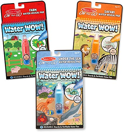 Amazon Com Melissa Doug Water Wow Reusable Color With Water Activity Pad 3 Pack Farm Safari Under The Sea Gre Water Activities Melissa Doug Water Pad