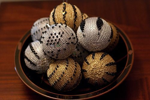 Beaded Christmas ornaments to knit.