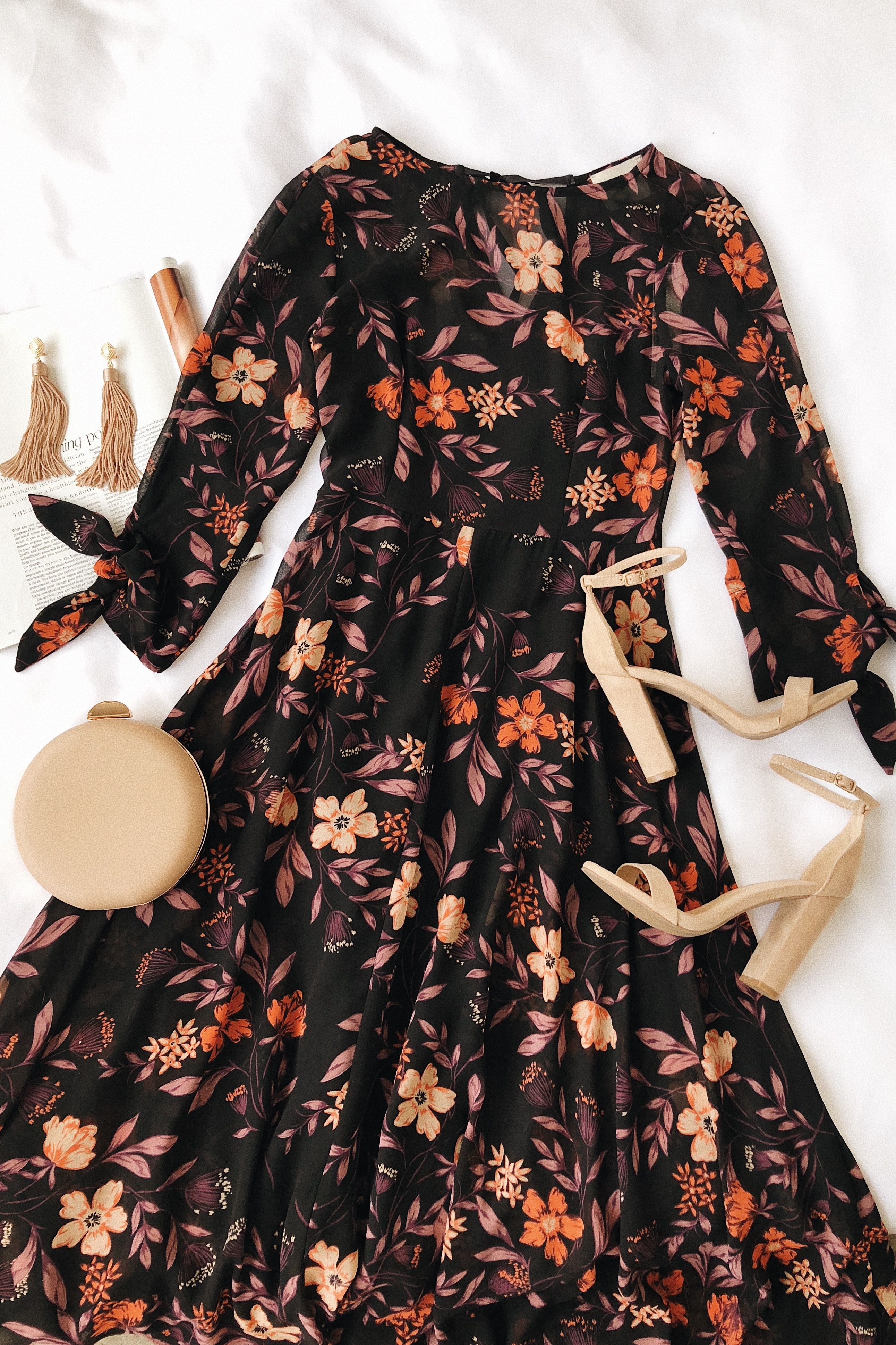 Canary yellow wedding decorations november 2018 Passionate Love Black Floral Print Midi Dress in   Best of New