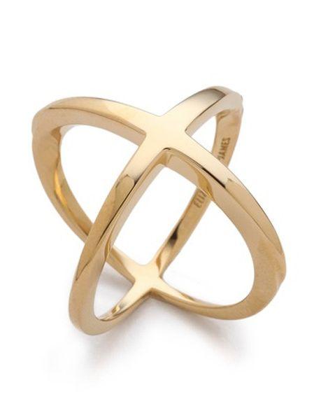 Gold Cross Circle Ring
