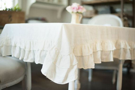 120 x 60 Double Ruffled Cream Linen Tablecloth by ruffledlinens