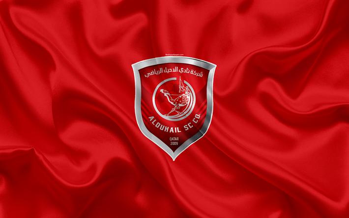 Lataa kuva Al-Duhail SC, 4k, Qatar jalkapallo club, tunnus, logo, Qatar Stars League, Doha, Qatar, jalkapallo, silkki tekstuuri, lippu, Al-Duhail FC