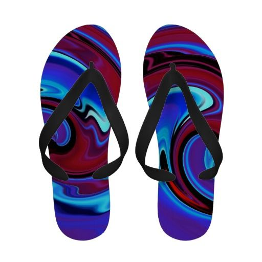 Red Hot And Blue Abstract Flip Flops
