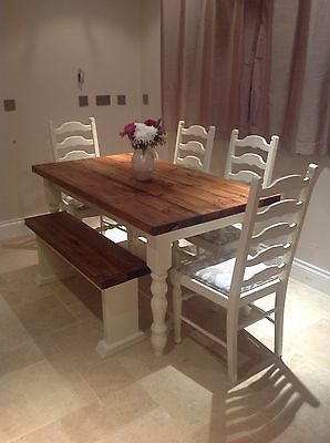 Rustic Farmhouse Shabby Chic Solid 6 Seater Dining Table 4 Chairs