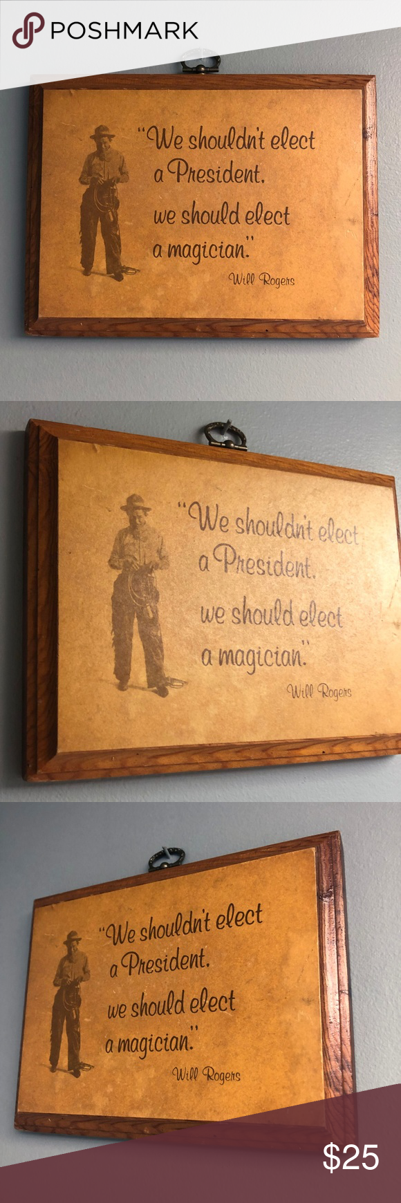 Photo of VTG 70s Will Rogers QuoteSatire Wooden Wall Plaque Wise and ornery Will Rogers s…