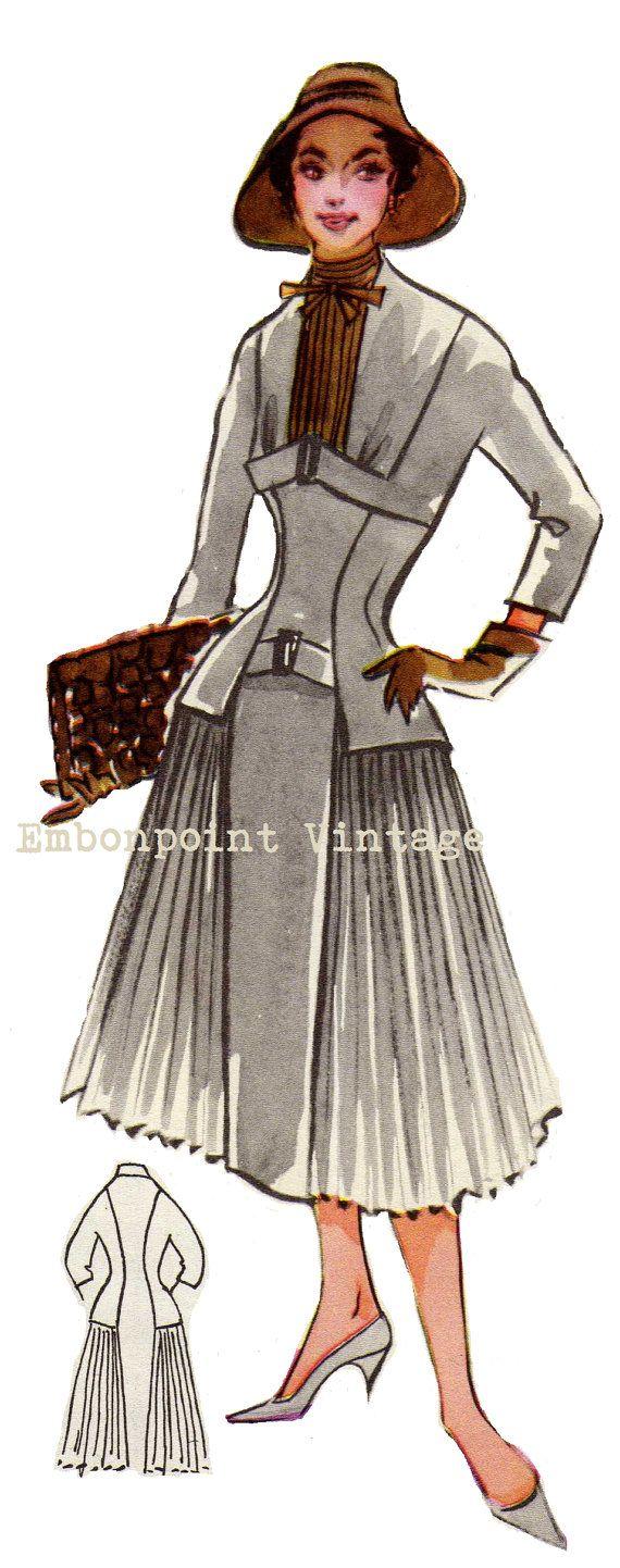 Vintage Sewing Pattern 1956 Dress PDF Plus by EmbonpointVintage, $10.20
