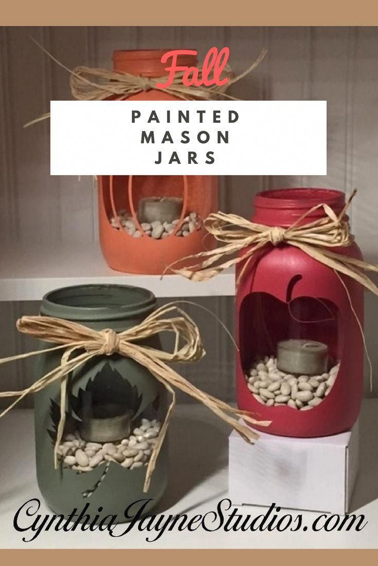 How to make these Simple Fall Painted Mason Jars