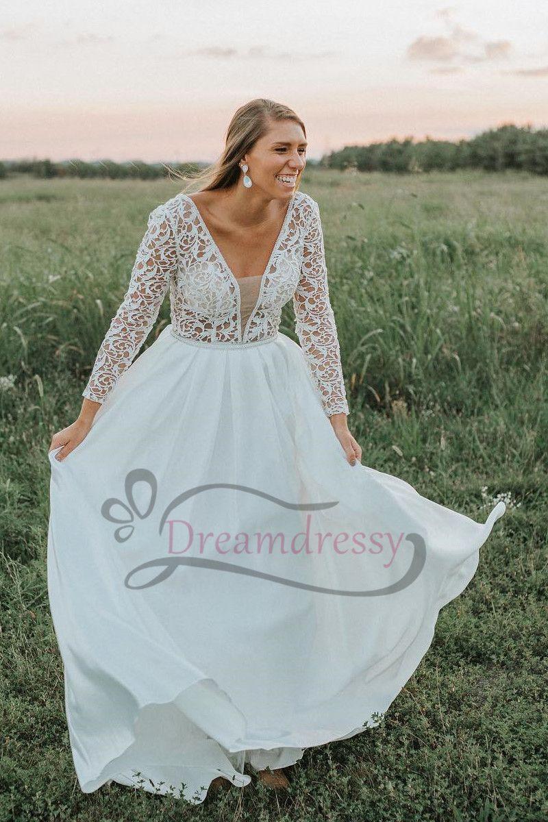 Long Sleeves White Long Wedding Dress | 2018 Latest New Dresses ...