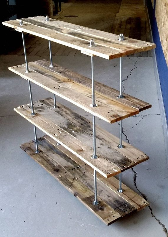 Photo of Vintage Reclaimed Wood Pallet 4 Shelf Bookcase or Bookshelf Industrial Style with Adjustable Legs