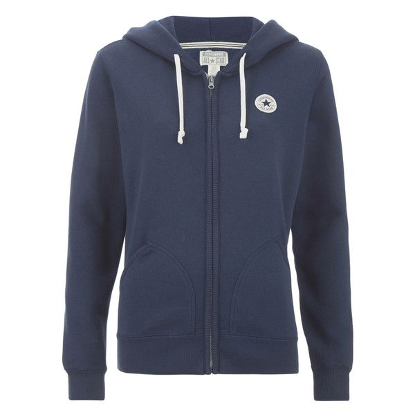 Converse Women s Full Zip Hoody - Nighttime Navy ( 71) ❤ liked on Polyvore  featuring tops 662f2af121