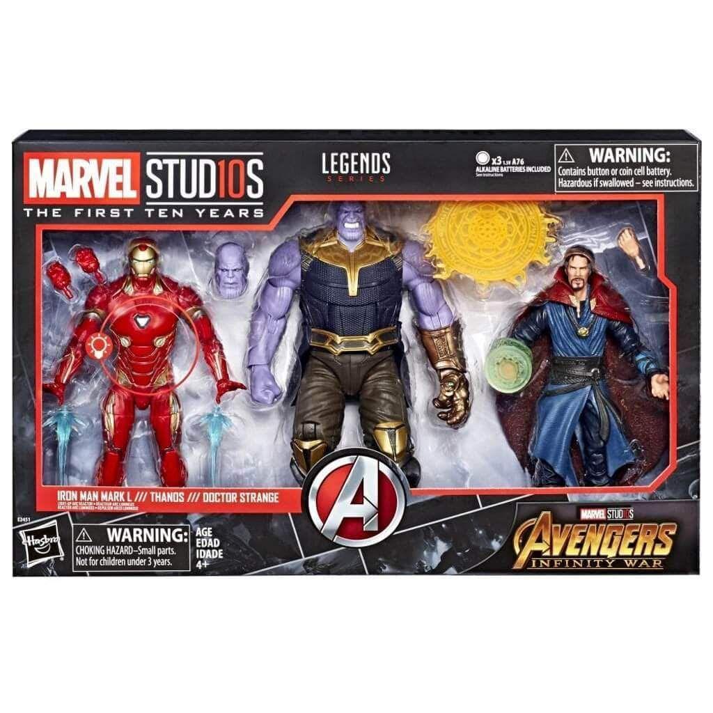 Marvel Studios The First Ten Years Marvel Legends Iron Man Thanos Doctor Strange Three Pack Marvel Legends Action Figures Marvel Legends Marvel Legends Figures