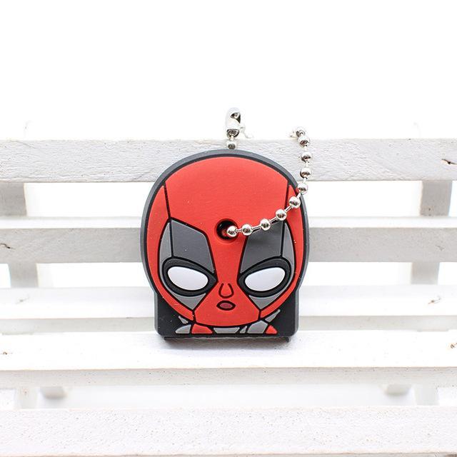 cute super hero silicone cartoon key cover batman spiderman keychain