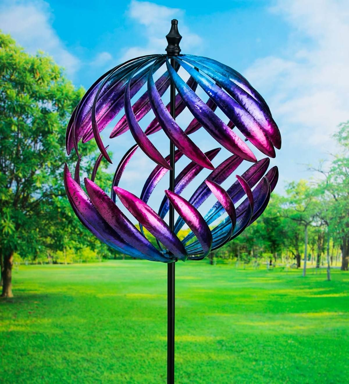 Oversized Split Sphere Metal Wind Spinner Plowhearth In 2020 Metal Wind Spinners Wind Spinners Garden Wind Spinners