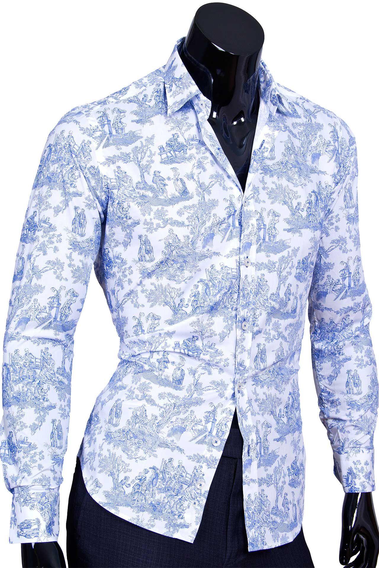 7c9c4144293 Белая приталенная мужская рубашка с рисунком