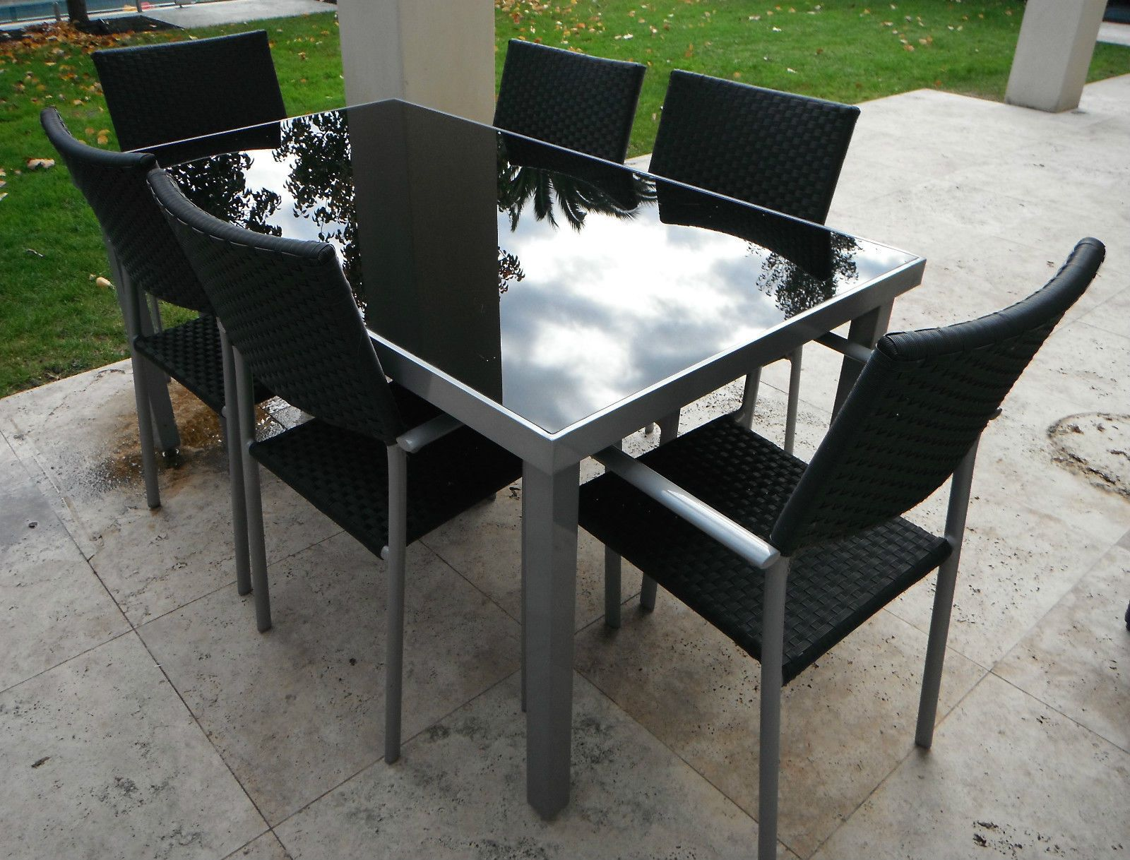 outdoor furniture table 6 chairs aluminium frame with black glass top in vic ebay outdoor. Black Bedroom Furniture Sets. Home Design Ideas