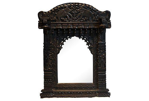 Mudejar Hand Carved Wood Mirror On Onekingslane Com With Images Carved Wood Frame Mirror Wood Mirror
