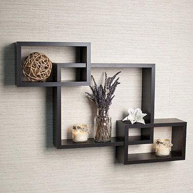 walnut grain finish intersecting boxes wall shelf bedbathandbeyond rh pinterest com
