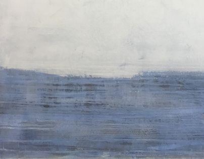 "Fog Bank, Oil & Wax on panel, 32"" x 32"" (81 cm x 81 cm), 2016."