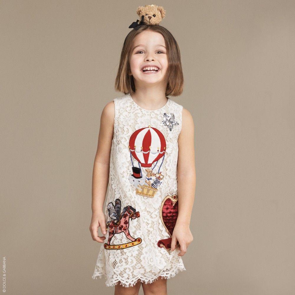 Dolce & Gabbana - Girls White 'Fairytale' Macramé Lace Dress | Childrensalon