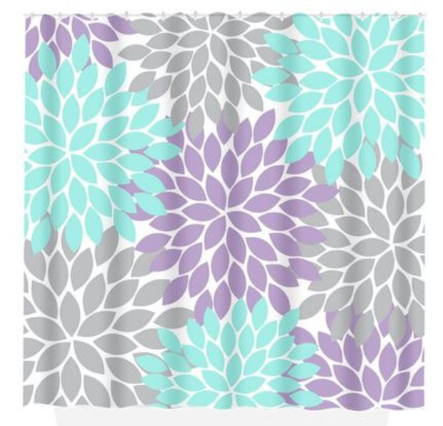 Aqua Gray SHOWER CURTAIN Lavender Flower Burst Custom MONOGRAM - Turquoise bathroom mats for bathroom decorating ideas