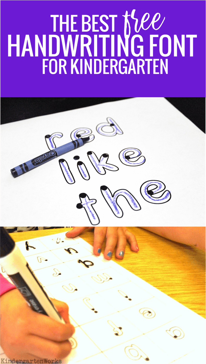 The Best Free Handwriting Font for Kindergarten is part of Kindergarten handwriting, Free handwriting, Teaching handwriting, Free fonts handwriting, Handwriting practice kindergarten, Kids handwriting - When we teach handwriting or how to form letters in kindergarten  it's easy to focus on the wrong things  Let me help you teach handwriting more simply with the best handwriting font for kindergarten  In kindergarten, teaching handwriting is super simple  Think that's a loaded statement  I'll break it down and show you what I mean and then I'll teach you how to use the best handwriting font to your advantage  And the neat part  you can pretty much kiss those handwriting books and stacks of worksheets goodbye  Free Font for Kindergarten Here is a free font that