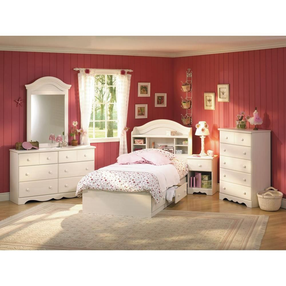 Bookcase Head Board Vanilla Girls bedroom furniture