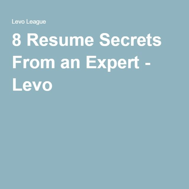 8 Resume Secrets From an Expert Career advice - counseling resume
