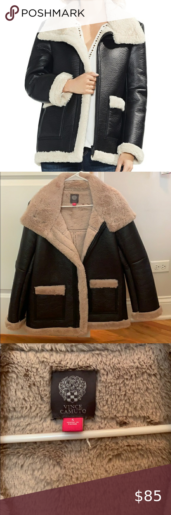 Shearling Lined Vince Camuto Leather Jacket Coat Shearling Jacket Coats Jackets Clothes Design [ 1740 x 580 Pixel ]