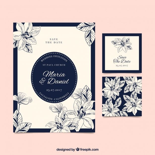 Download Hand Drawn Floral Vintage Wedding Card For Free In 2020 Vintage Wedding Cards Wedding Cards How To Draw Hands