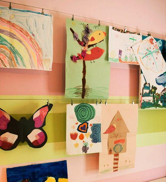 Inspiração para expor os desenhos das crianças. #inspiração #desenhos #filhos
