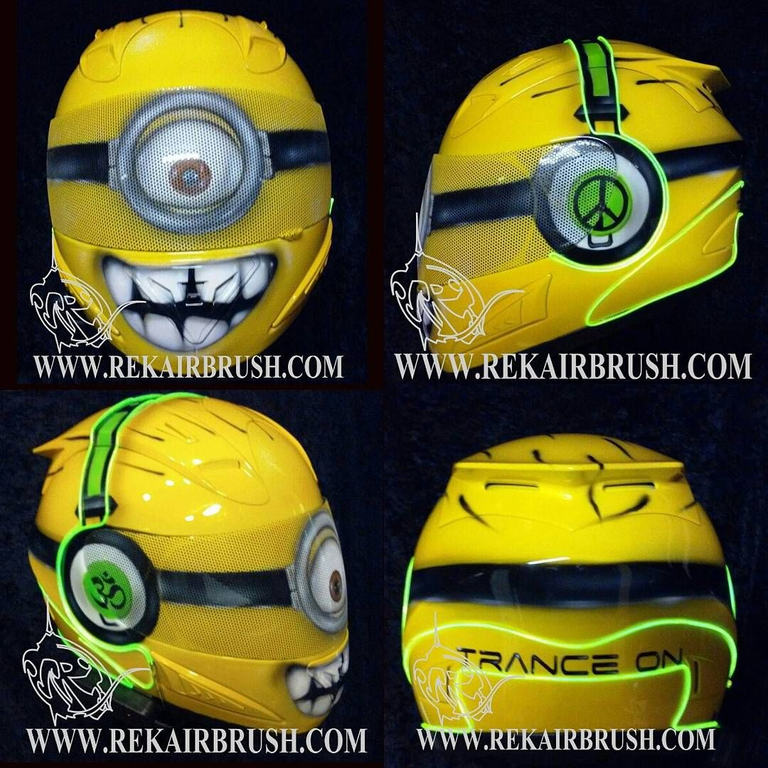 THE MINION MOTORCYCLE HELMET WITH GLOW WIRE INSTALLED | COOL ...