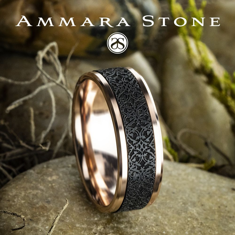 8mm 14k Rose Gold Men S Wedding Ring With A Black Titanium Ottoman