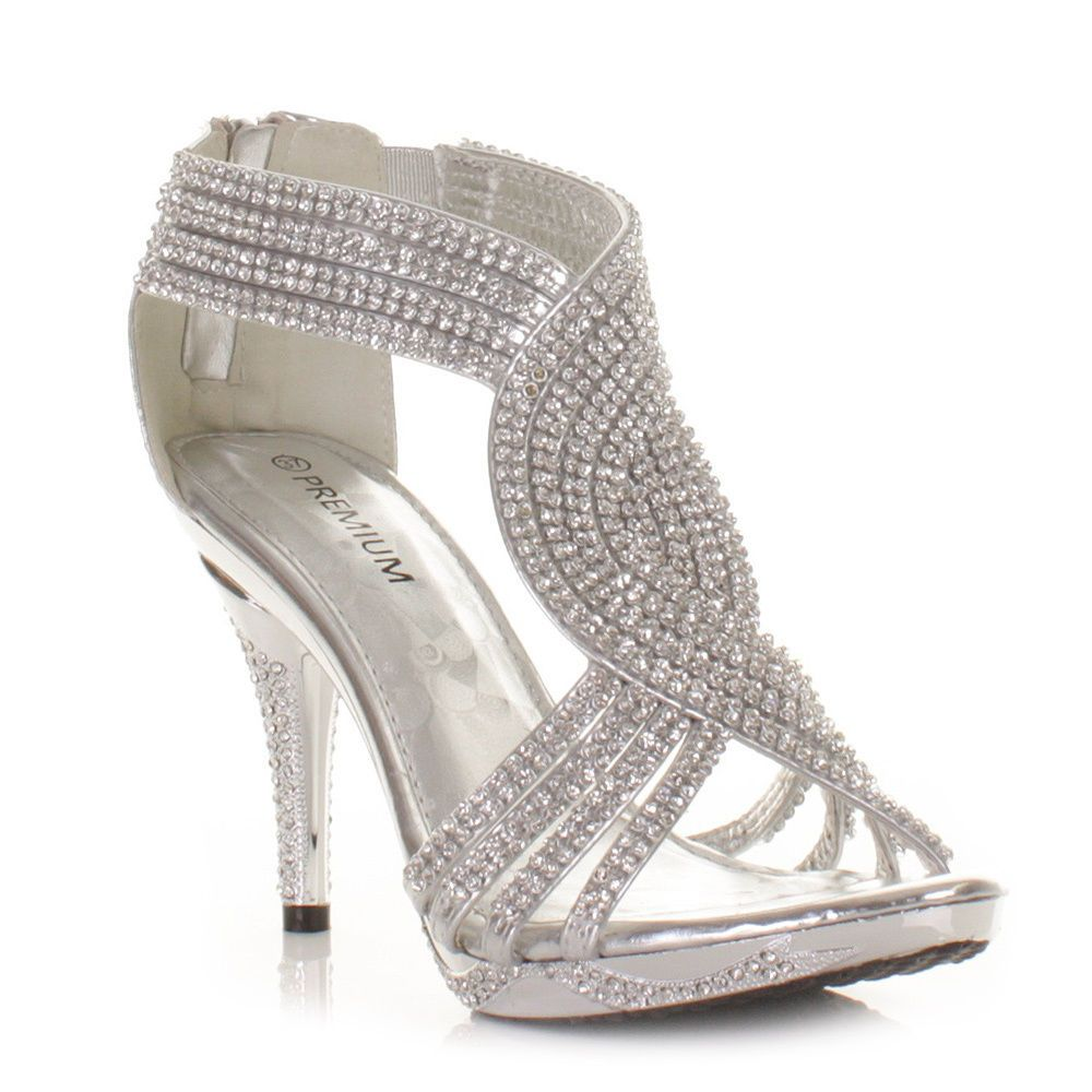 Silver womens ladies diamante wedding high heel prom shoes sandals ...