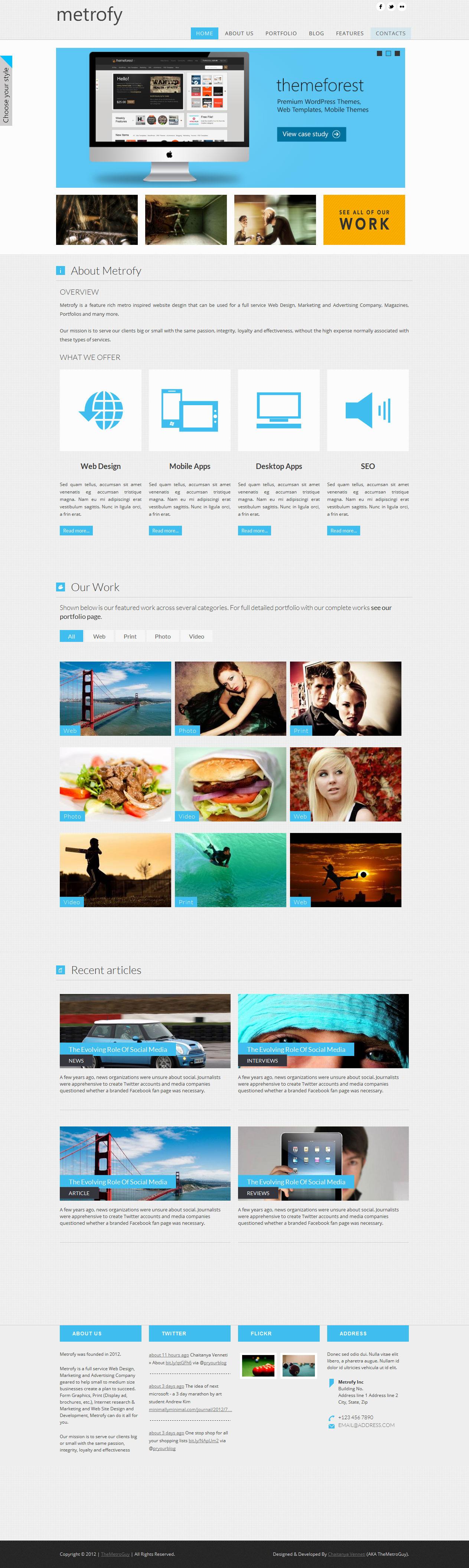 Metrofy Wordpress Theme in Metro Style #wordpress #theme #website ...