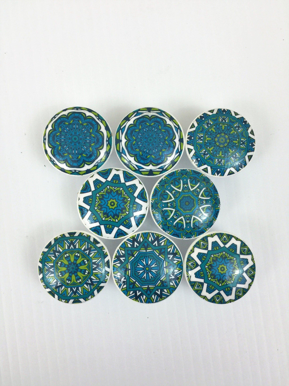Set of 8 Teal Mandala Cabinet Knobs