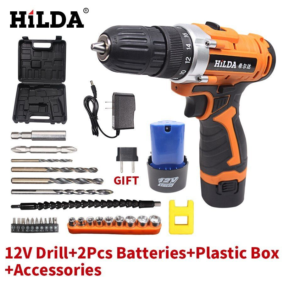 Warsley 12v 1 5ah Lithium Ion Cordless Drill Driver Set Compact Drill Kit With Led 3 Function 2 Speed 2 Batteries 1 Compact Drill Cordless Drill Drill Driver