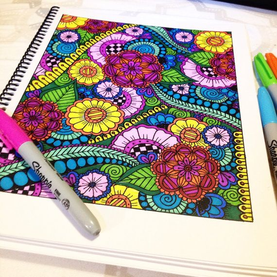 Printable Adult Coloring Book by PaisleyandHazel on Etsy