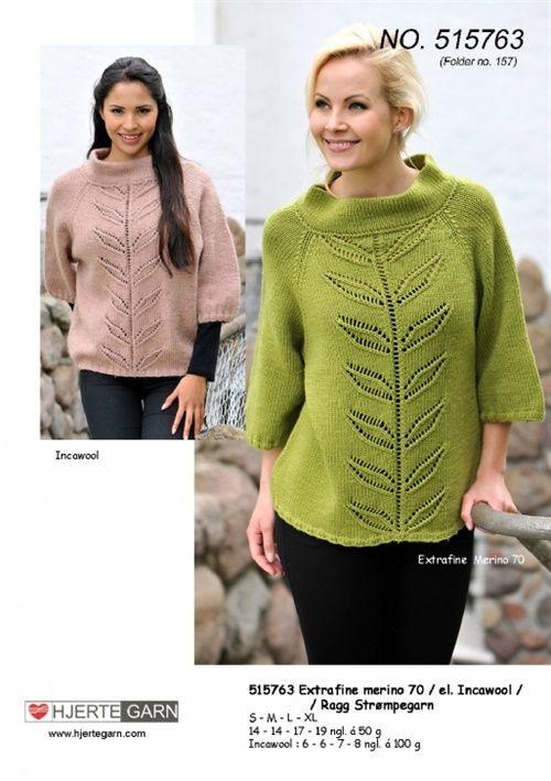 sweater med bladbort 515763 strikket i Ragg eller Inca garn - http://www.liveinternet.ru/users/5342735/post393033404/