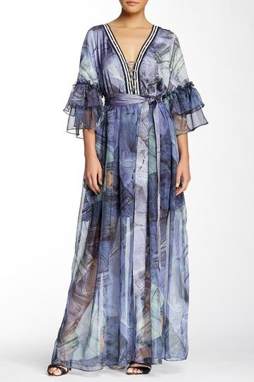 Image of TOV Denim Print Flare Sleeve Maxi Dress