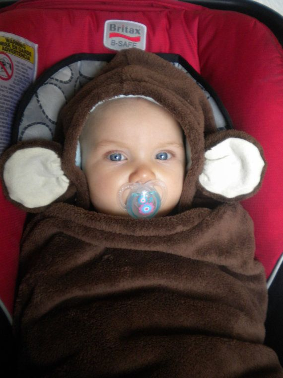 Car Seat Blanket With Monkey Hood For Infant Carseats