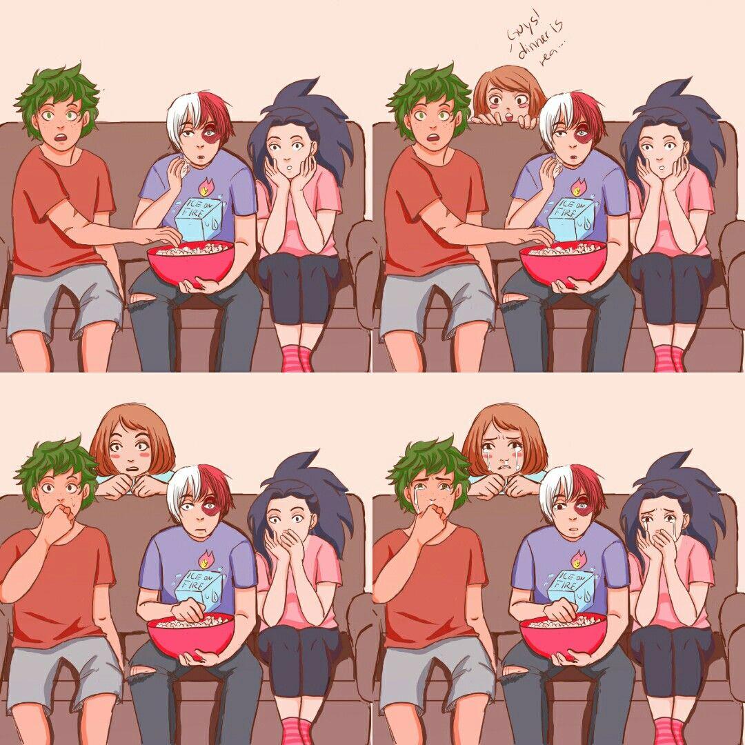 Todoroki, Momo, Deku, and Ochako watch Avengers: Infinity