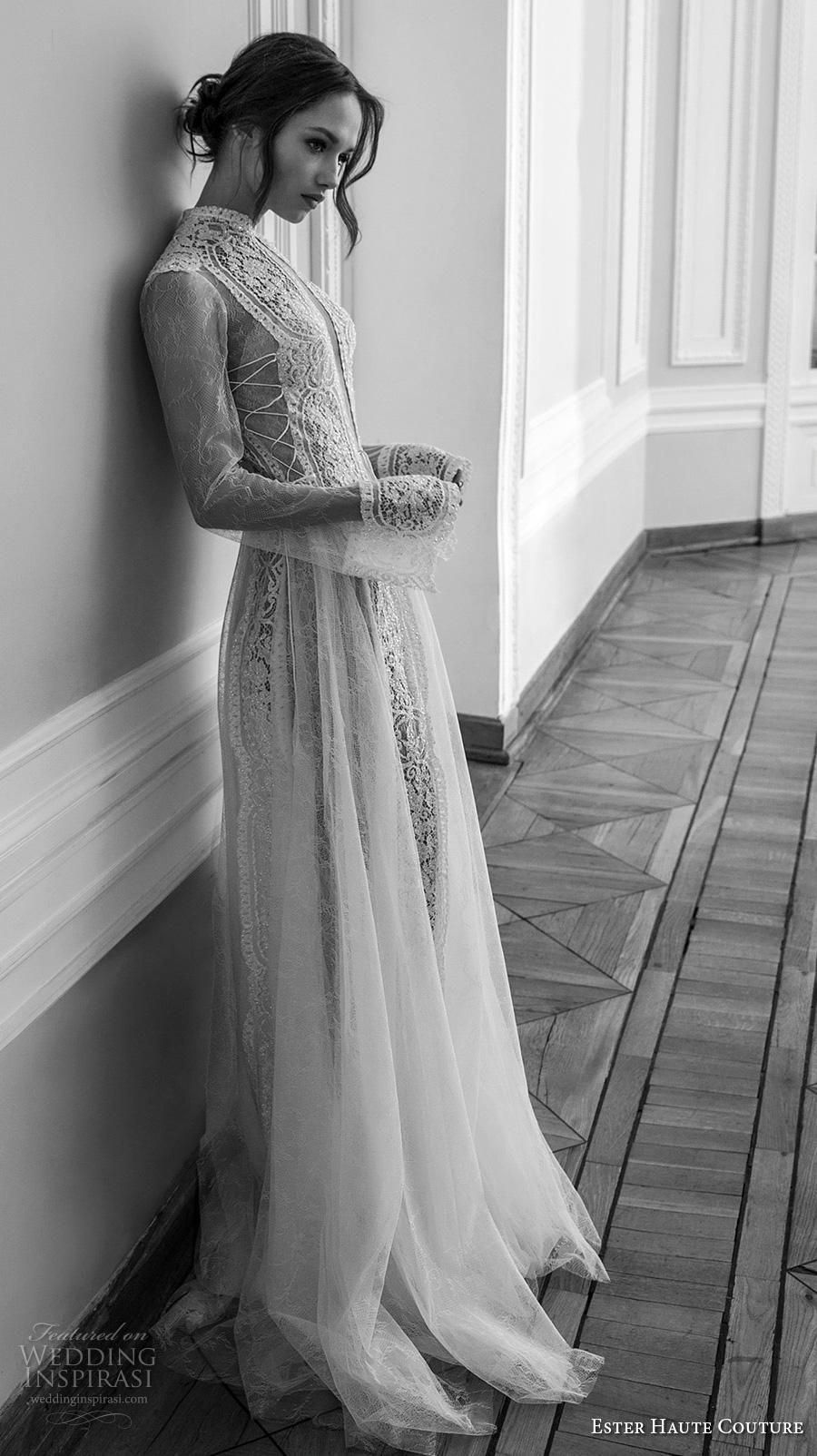 3529949839 ester haute couture 2019 bridal long sleeves high neck keyhole bodice full  embellishment elegant a line wedding dress keyhole back sweep train (4) mv  ...