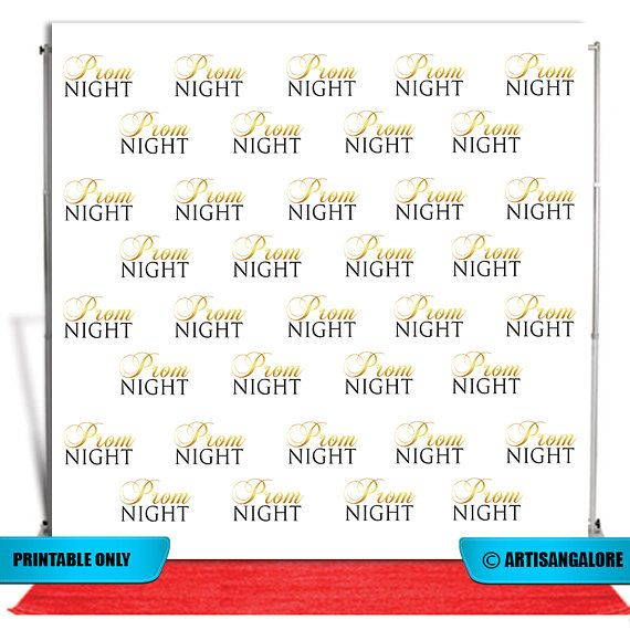 Prom Night Backdrop Banner Step And Repeat 8X8 Photo Booth Graduation Printable