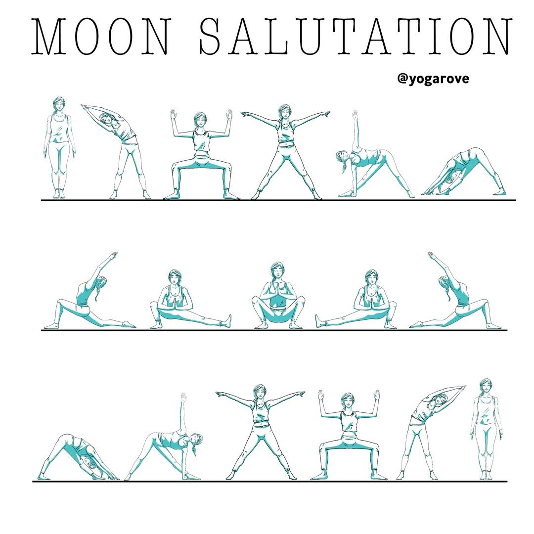 "Yoga Rove | Yoga for Beginners on Instagram: ""🌑🌒🌓🌔MOON SALUTATION🌕🌖🌗🌘⁠ ⁠ follow @yogarove⁠ follow @yogarove⁠ ⁠ SUN Salutations are very popular in yoga, but have you ever tried MOON…"""